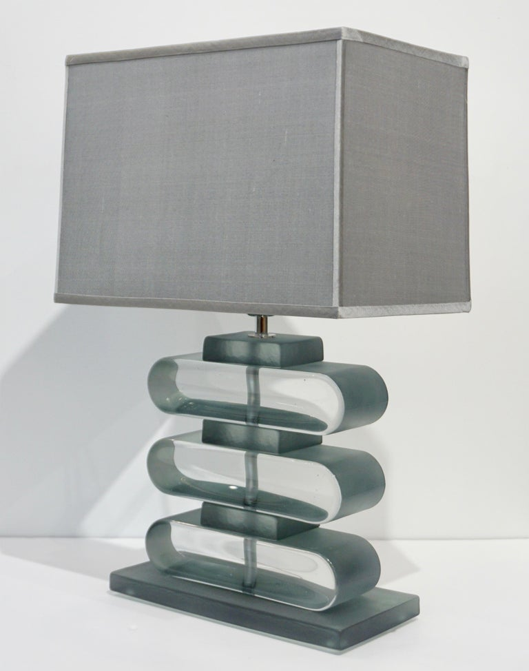 Organic Modern Italian Modern Pair of Nickel and Smoked Aqua Murano Glass Architectural Lamps For Sale