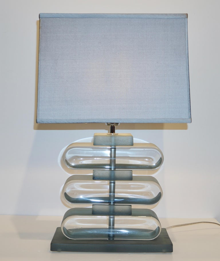 Italian Modern Pair of Nickel and Smoked Aqua Murano Glass Architectural Lamps For Sale 3