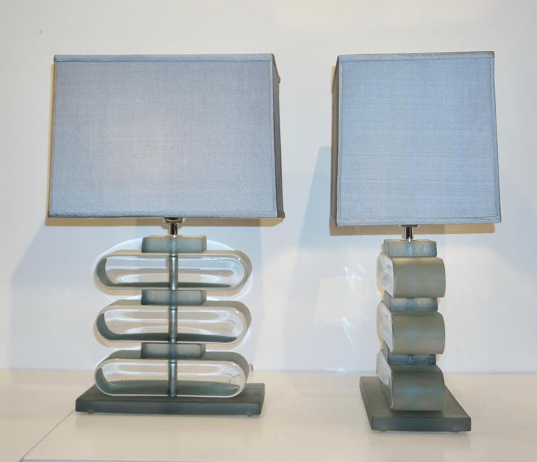 Hand-Crafted Italian Modern Pair of Nickel and Smoked Aqua Murano Glass Architectural Lamps For Sale