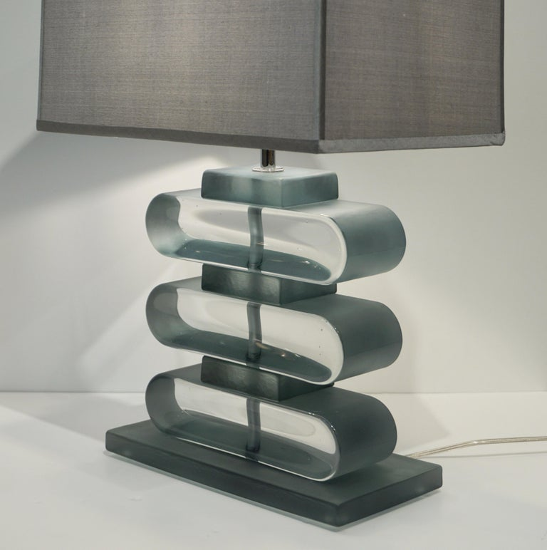 Italian Modern Pair of Nickel and Smoked Aqua Murano Glass Architectural Lamps For Sale 2