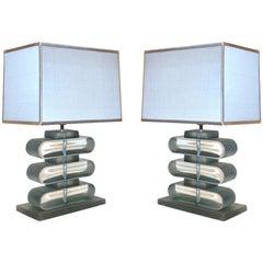 Italian Modern Pair of Nickel and Smoked Aqua Murano Glass Architectural Lamps