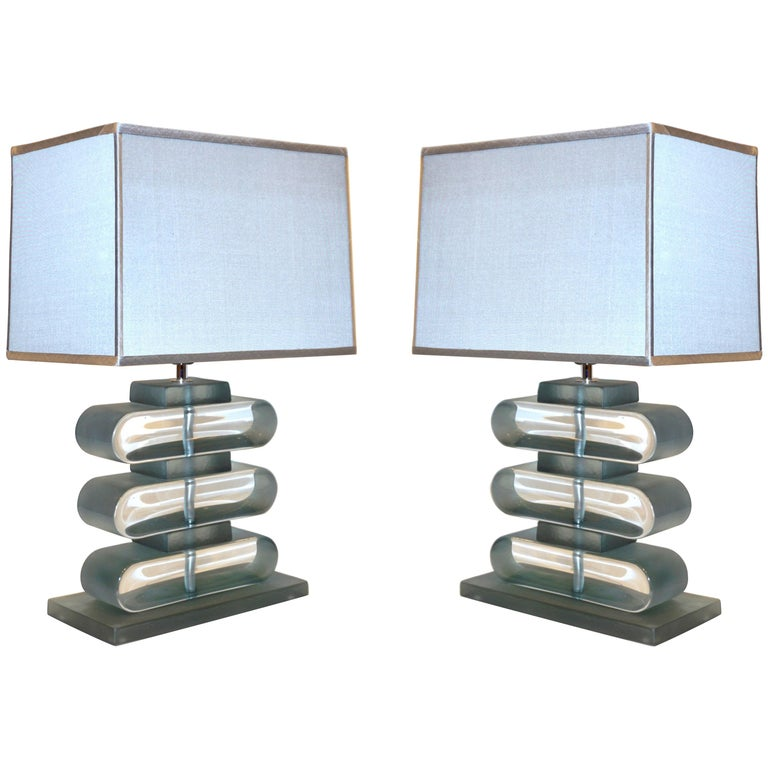 Italian Modern Pair of Nickel and Smoked Aqua Murano Glass Architectural Lamps For Sale