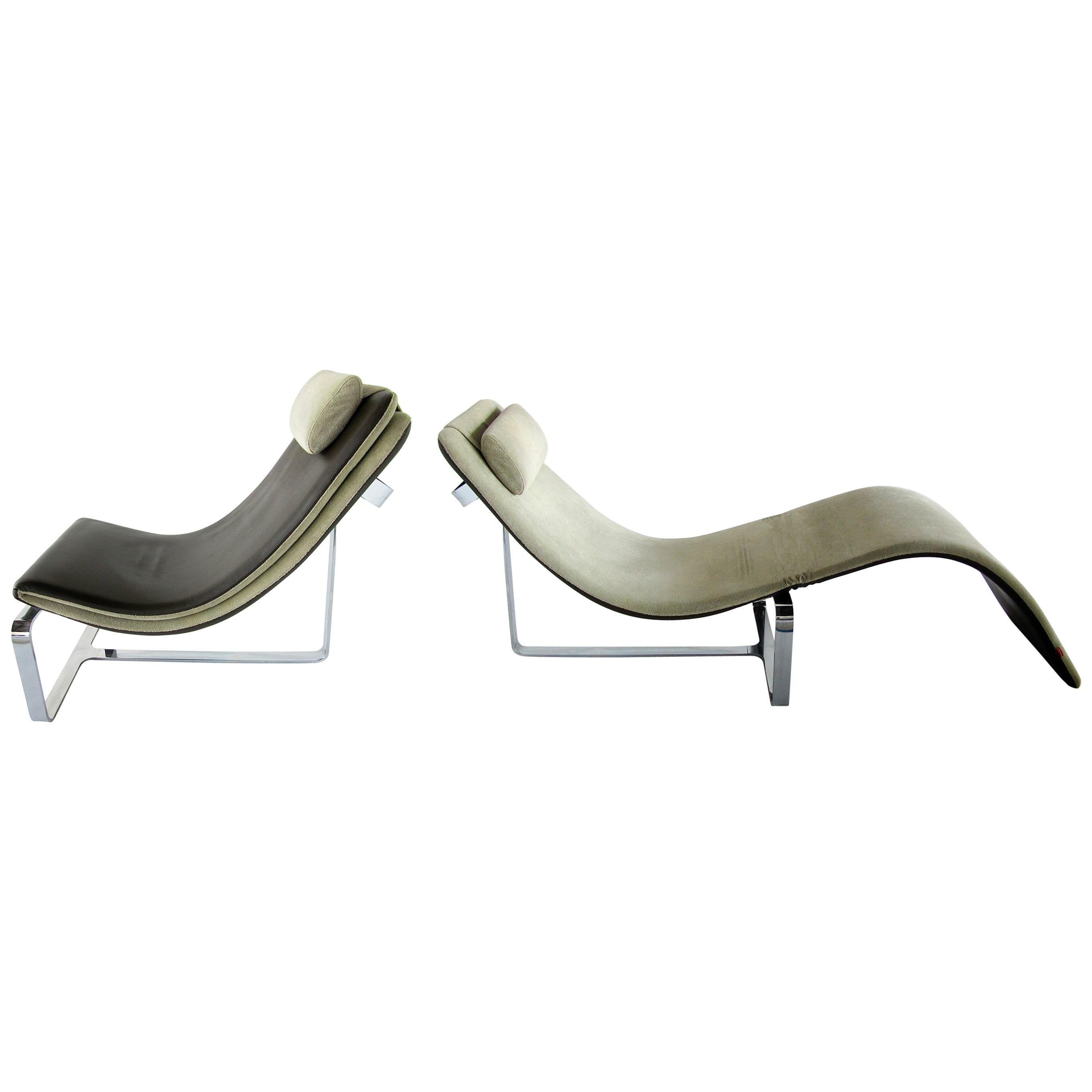 Italian Modern Polished Chrome, Leather and Chenille Chaise Lounge/Chair