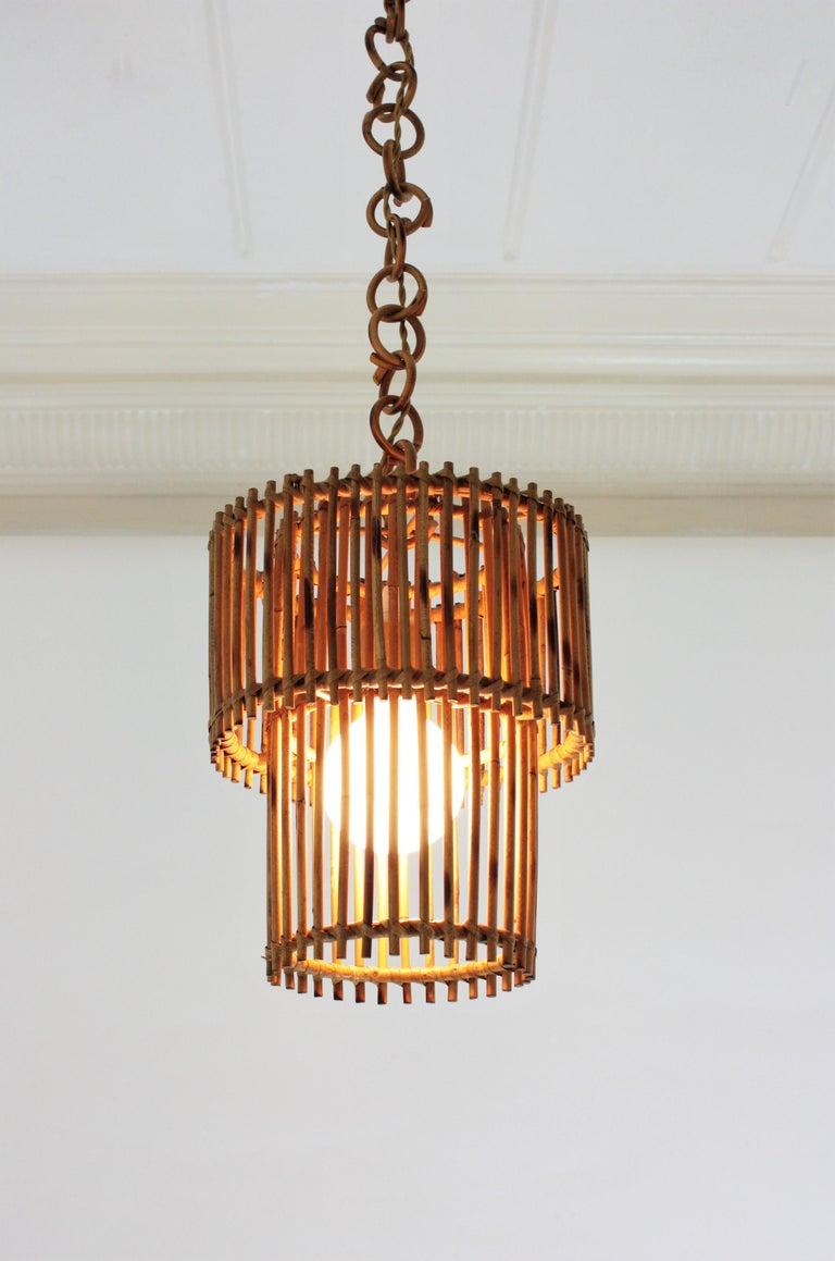 Italian Modern Rattan Cylindrical Pendant Hanging Light or Lantern, 1960s For Sale 4