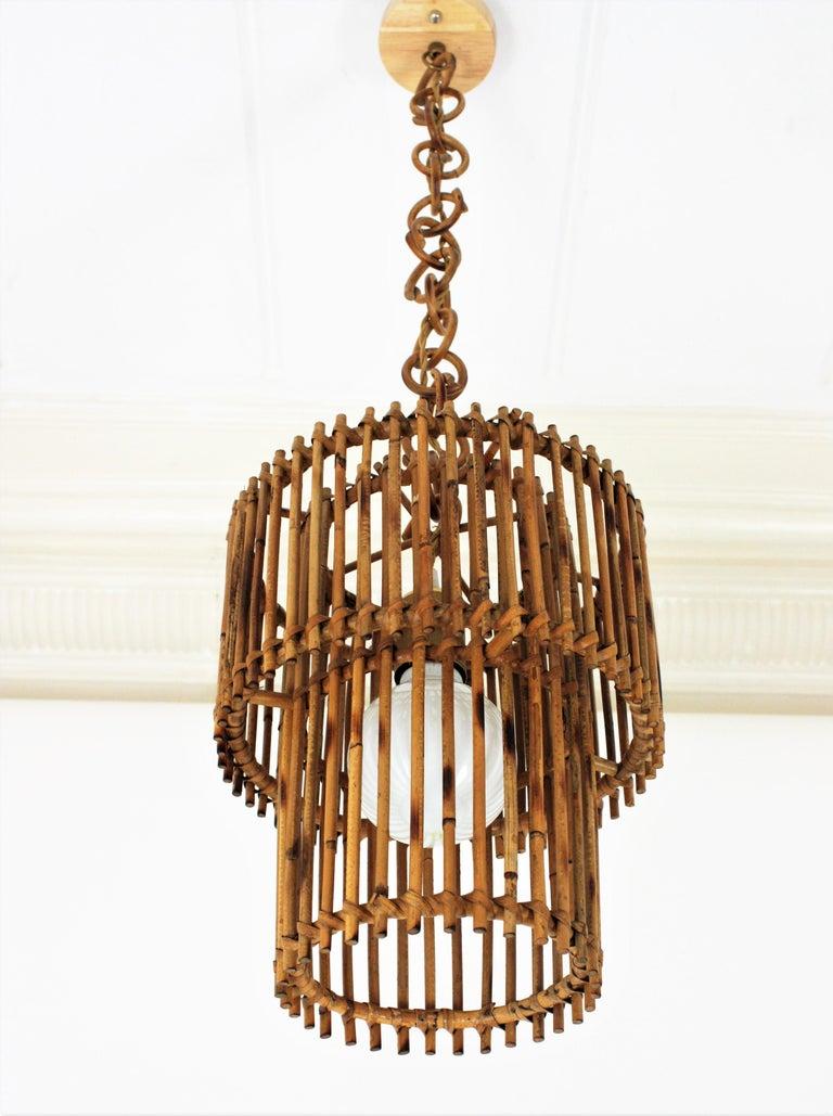 Italian Modern Rattan Cylindrical Pendant Hanging Light or Lantern, 1960s For Sale 5