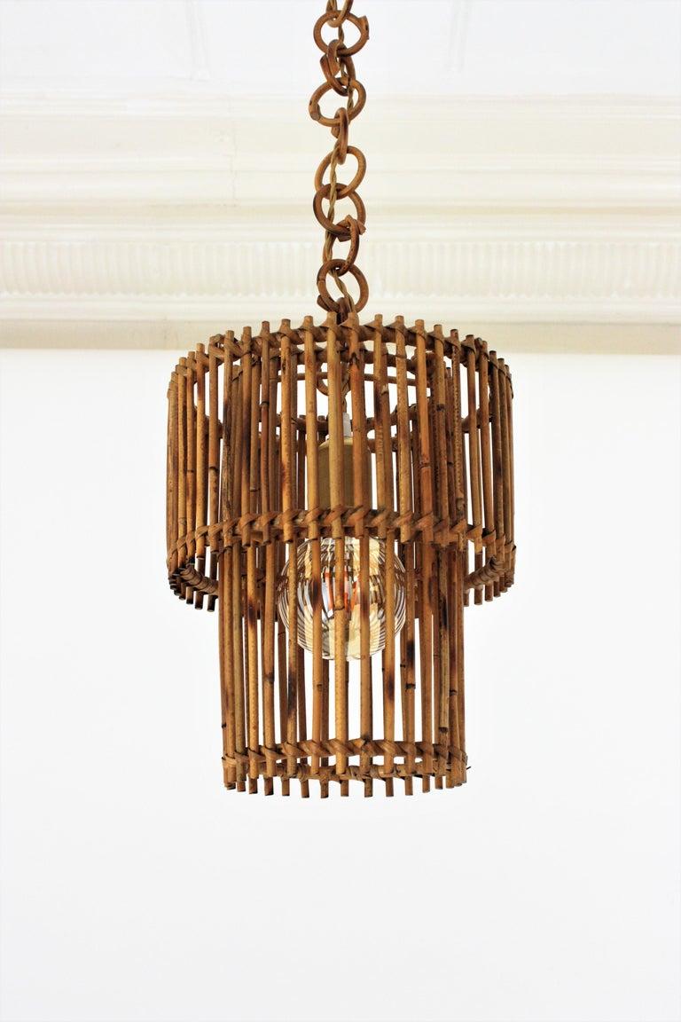 Italian Modern Rattan Cylindrical Pendant Hanging Light or Lantern, 1960s For Sale 6