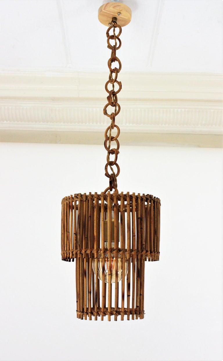 Italian Modern Rattan Cylindrical Pendant Hanging Light or Lantern, 1960s For Sale 9
