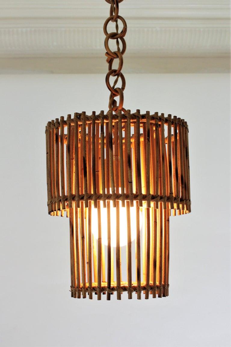 Italian Modern Rattan Cylindrical Pendant Hanging Light or Lantern, 1960s For Sale 10
