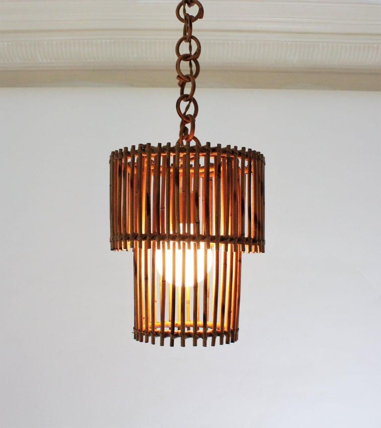 Italian Modern Rattan Cylindrical Pendant Hanging Light or Lantern, 1960s For Sale 11