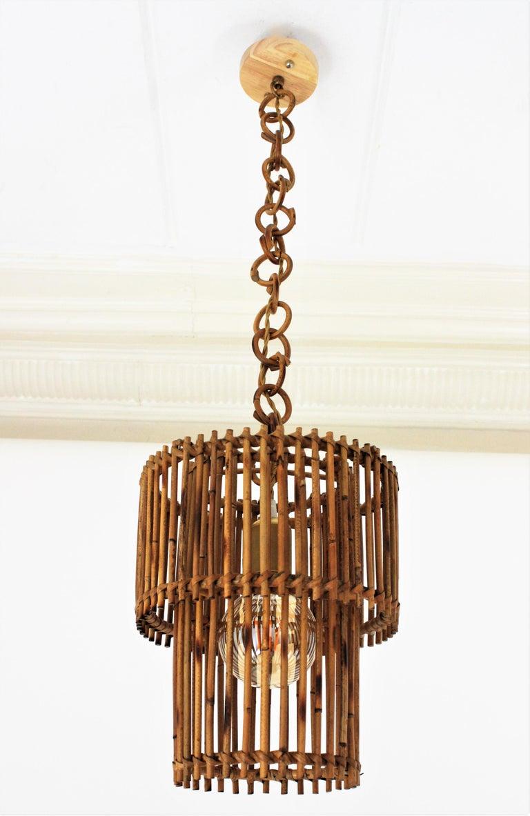 Chinoiserie Italian Modern Rattan Cylindrical Pendant Hanging Light or Lantern, 1960s For Sale