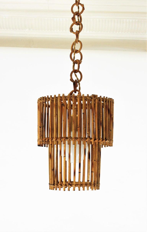 Wicker Italian Modern Rattan Cylindrical Pendant Hanging Light or Lantern, 1960s For Sale