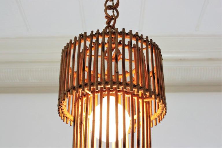 Italian Modern Rattan Cylindrical Pendant Hanging Light or Lantern, 1960s For Sale 2