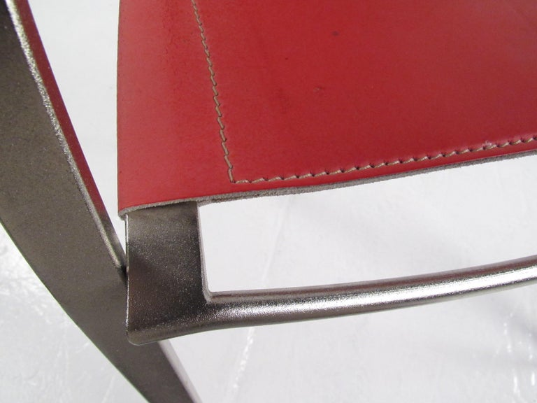 Italian Modern Red Leather Dining Chairs For Sale 5