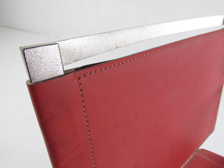 Italian Modern Red Leather Dining Chairs For Sale 6