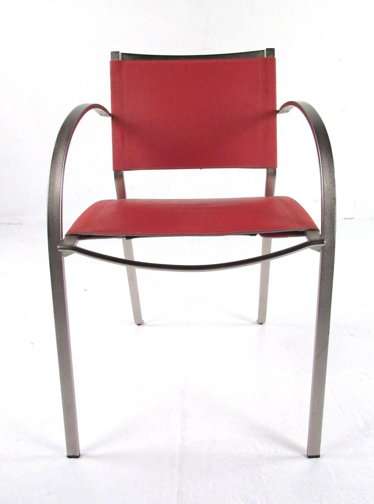Italian Modern Red Leather Dining Chairs For Sale At 1stdibs
