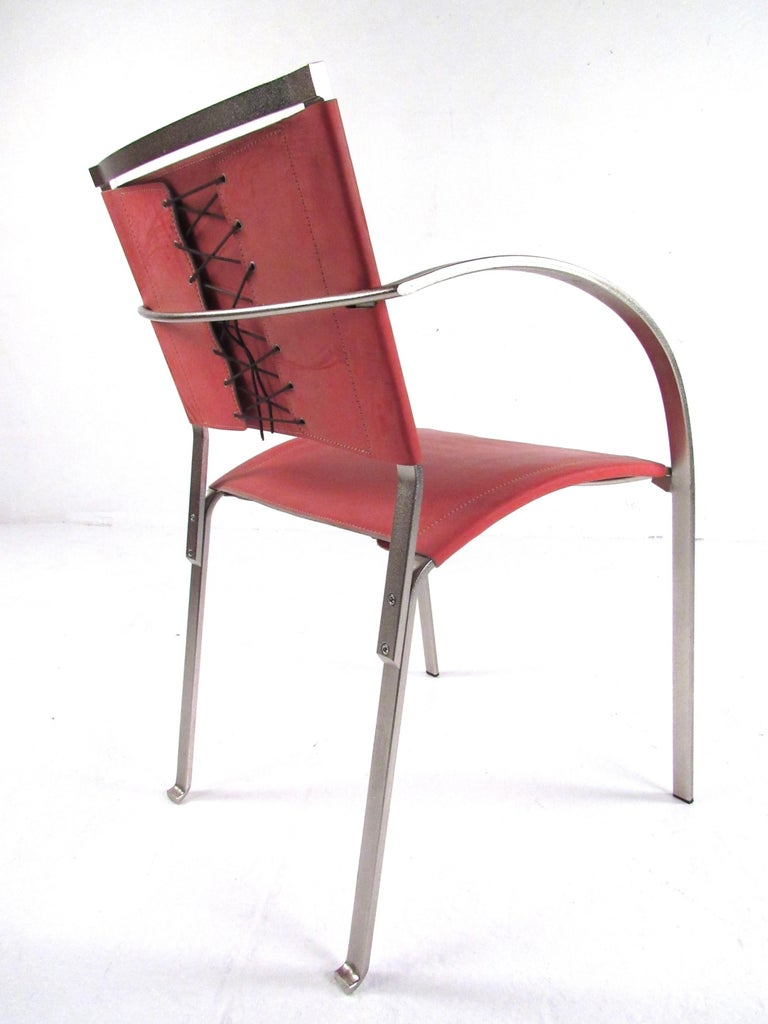 20th Century Italian Modern Red Leather Dining Chairs For Sale