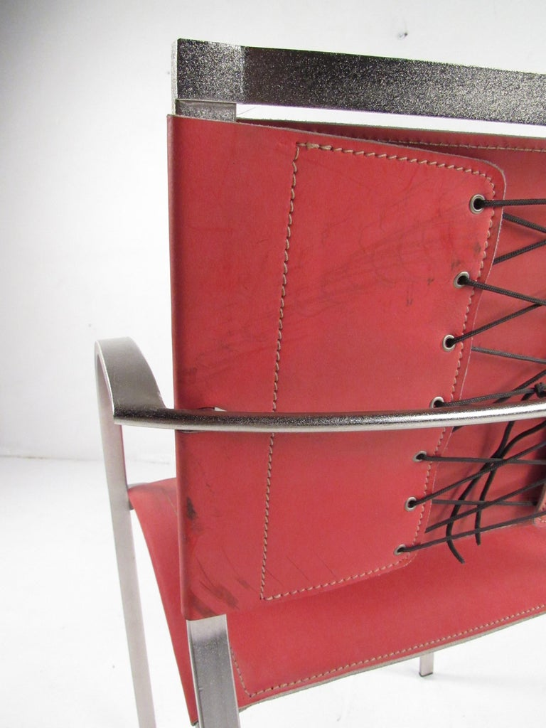 Metal Italian Modern Red Leather Dining Chairs For Sale