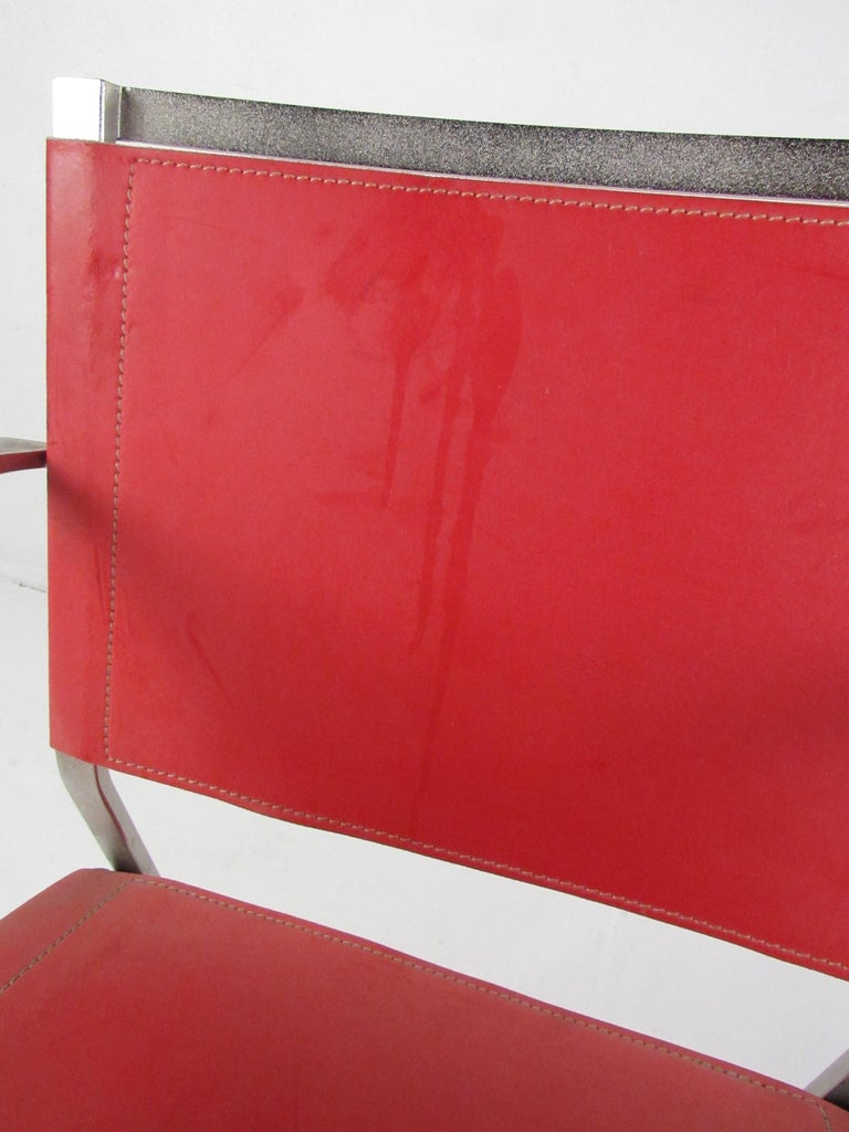 Italian Modern Red Leather Dining Chairs For Sale 2