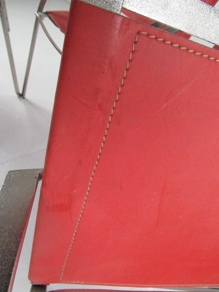 Italian Modern Red Leather Dining Chairs For Sale 3