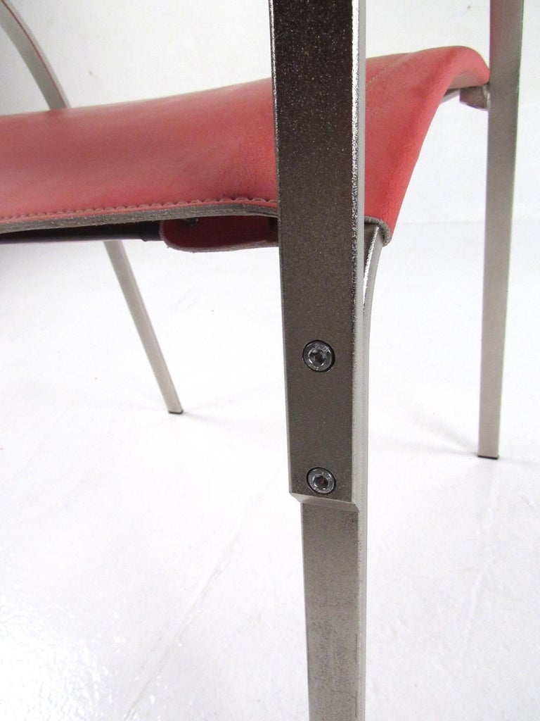 Italian Modern Red Leather Dining Chairs For Sale 4