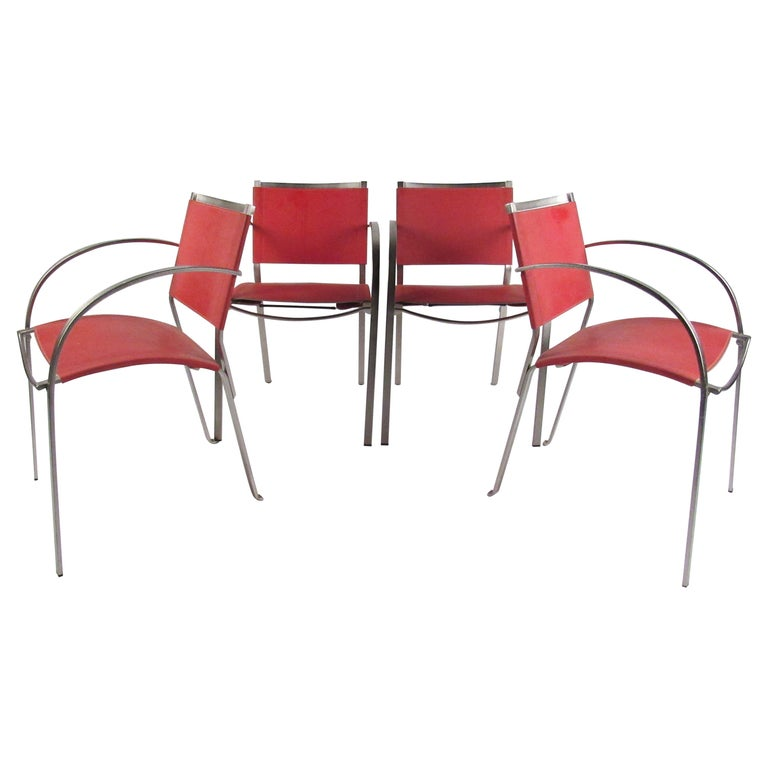 Italian Modern Red Leather Dining Chairs For Sale