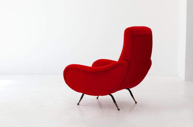 Mid-Century Modern Italian Modern Red Velvet Armchair, 1950s For Sale