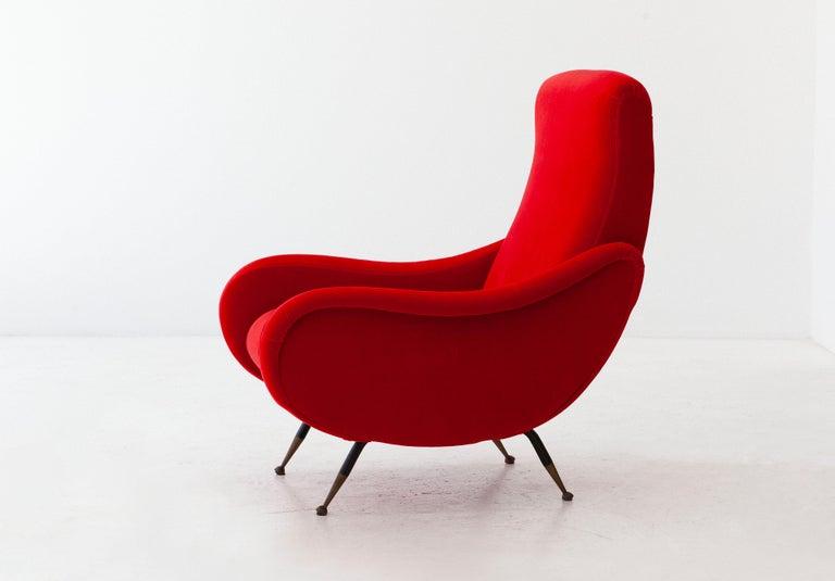 Mid-20th Century Italian Modern Red Velvet Armchair, 1950s For Sale