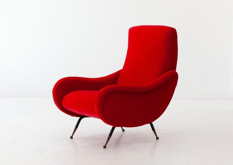 Brass Italian Modern Red Velvet Armchair, 1950s For Sale