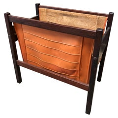 Italian Modern Rosewood and Orange Leather Magazine Rack