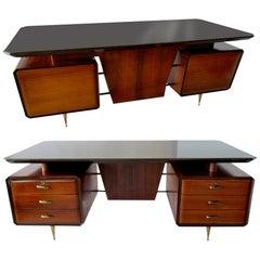 Italian Modern Rosewood, Mahogany, Glass and Bronze Executive Desk, circa 1955