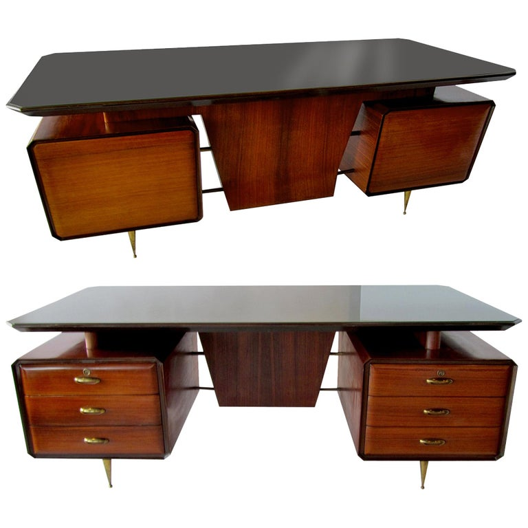 Italian Modern Rosewood, Mahogany, Glass and Bronze Executive Desk For Sale