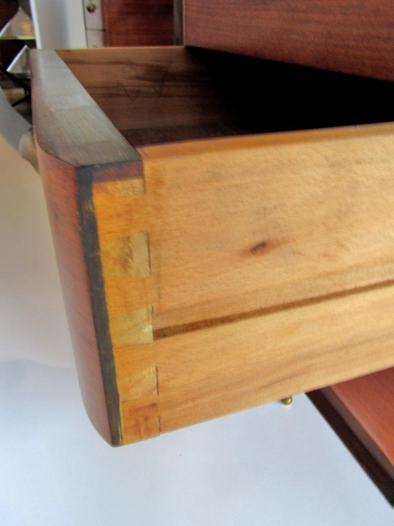 Mid-Century Modern Italian Modern Rosewood, Mahogany, Glass and Bronze Executive Desk For Sale