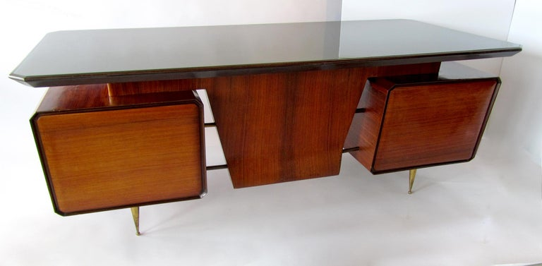 Italian Modern Rosewood, Mahogany, Glass and Bronze Executive Desk In Good Condition For Sale In Miami, FL