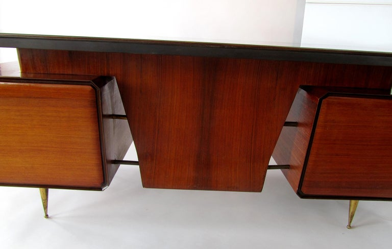 Mid-20th Century Italian Modern Rosewood, Mahogany, Glass and Bronze Executive Desk For Sale