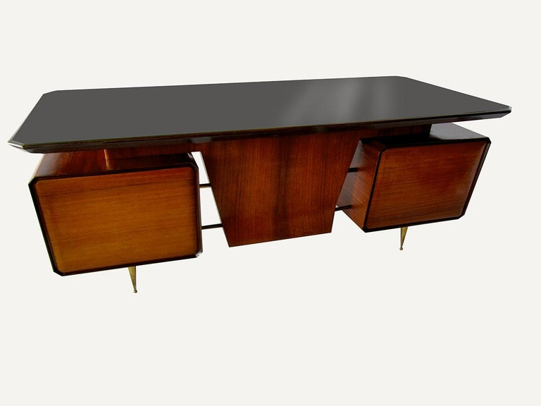 Italian Modern Rosewood, Mahogany, Glass and Bronze Executive Desk For Sale 3
