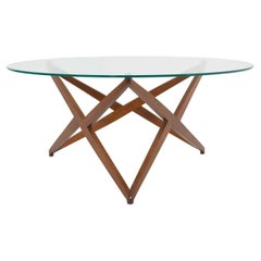 Italian Modern Round Coffee Table with Star-shaped Base by Angelo Ostuni, 1960s