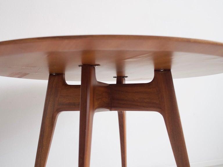 Teak Italian Modern Round Wooden Dining Table For Sale