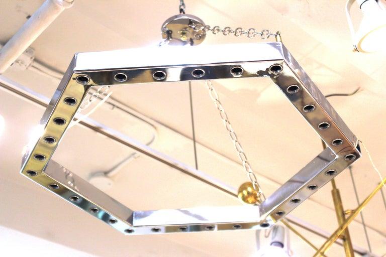 Italian Modern Sciolari Style Hexagonal Pendant Chandelier In Good Condition For Sale In New York, NY