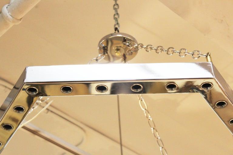 Late 20th Century Italian Modern Sciolari Style Hexagonal Pendant Chandelier For Sale