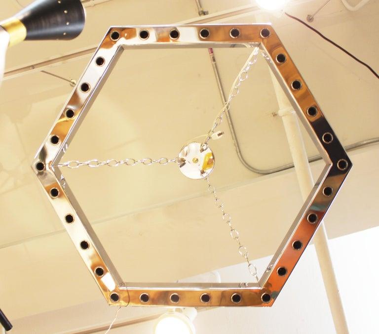 Metal Italian Modern Sciolari Style Hexagonal Pendant Chandelier For Sale
