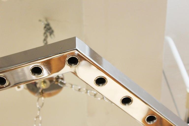 Italian Modern Sciolari Style Hexagonal Pendant Chandelier For Sale 2