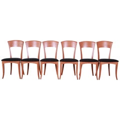 Italian Modern Sculpted Teak Dining Chairs by a. Sibau, Set of Six
