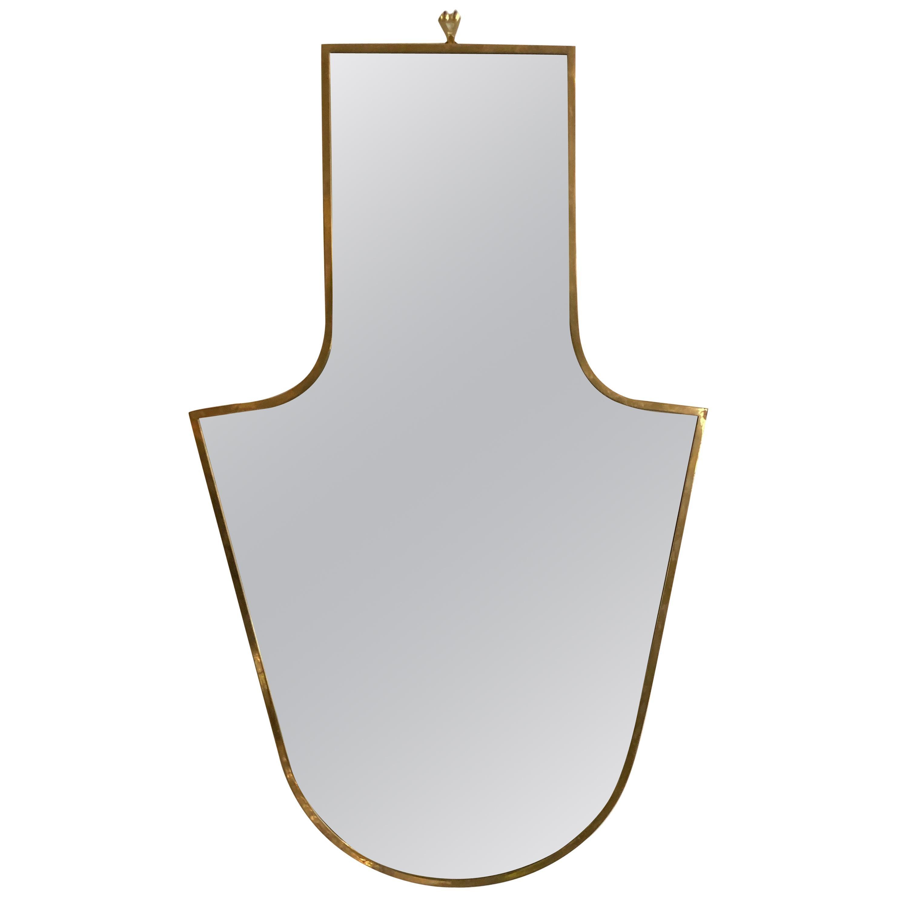 Italian Modern Shaped Brass Framed Mirror
