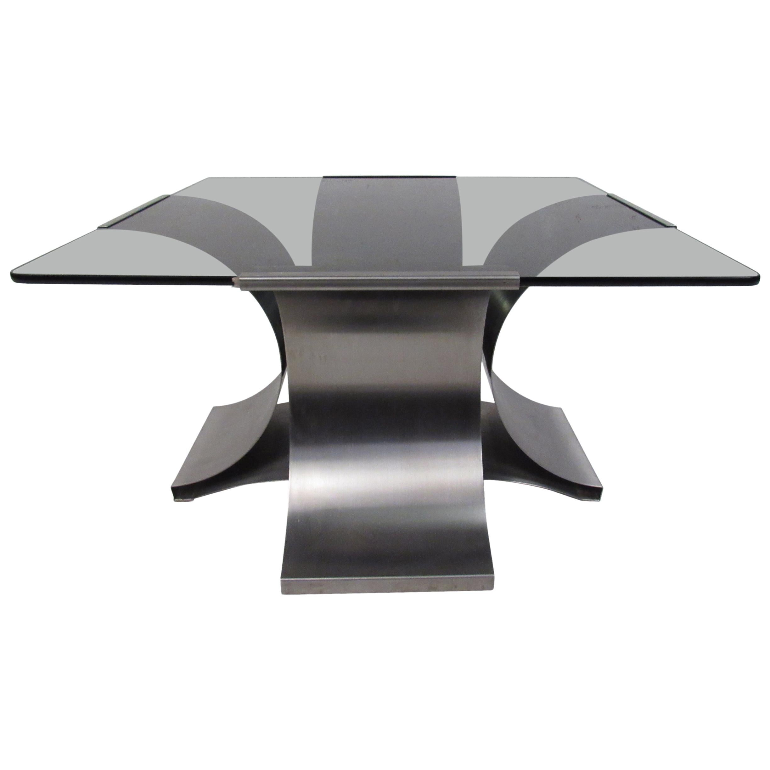 Italian Modern Smoked Glass Side Table