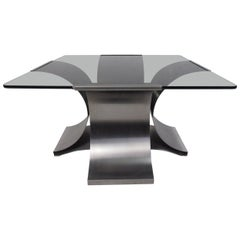 Italian Modern Smoked Glass Side Table