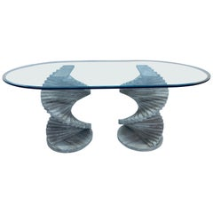 Italian Modern Spiral Stacked Travertine Dining or Center Table