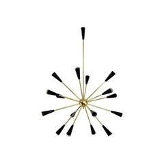 Italian Modern Sputnik Chandelier in Brass and Enamel by Fabio Ltd
