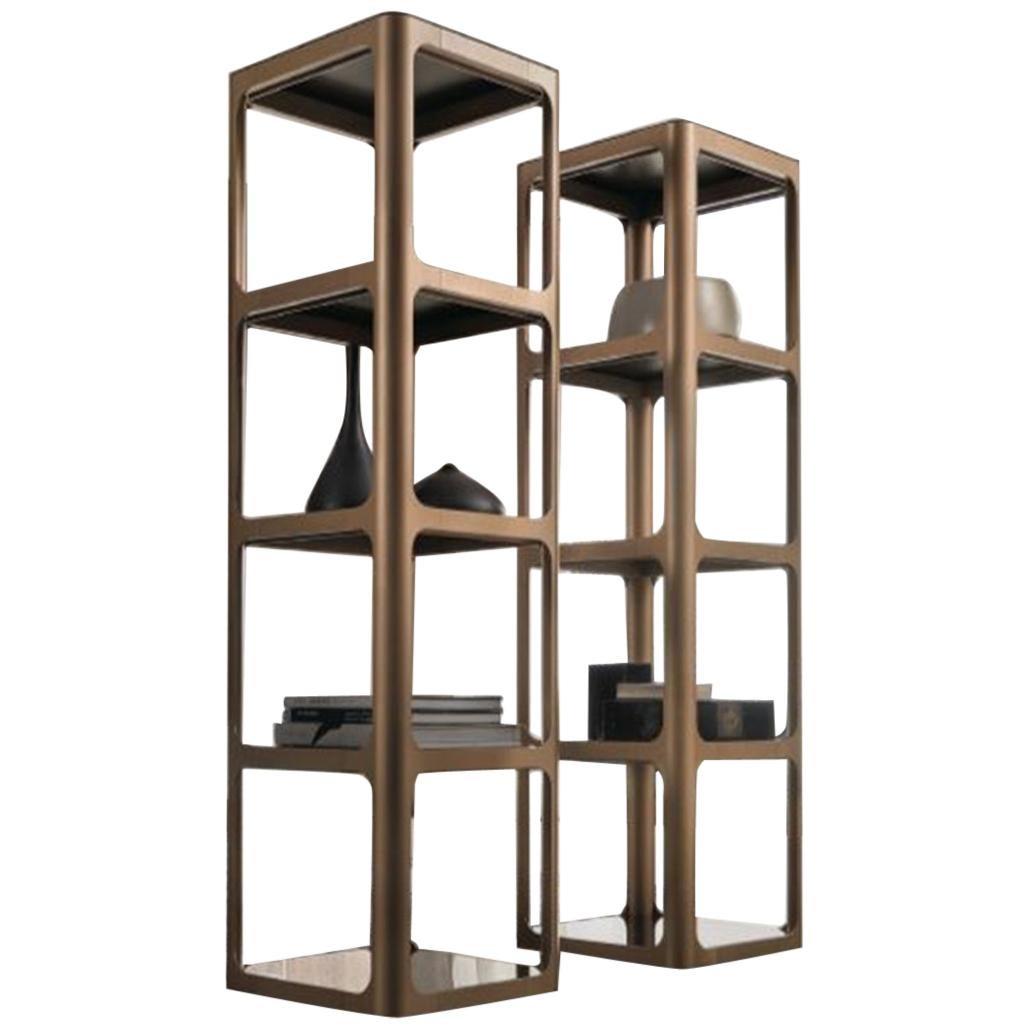 Italian Modern Square Bookcase in Glass and Aluminum
