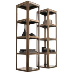 Italian Modern Square Bookcase in Glass and Aluminum