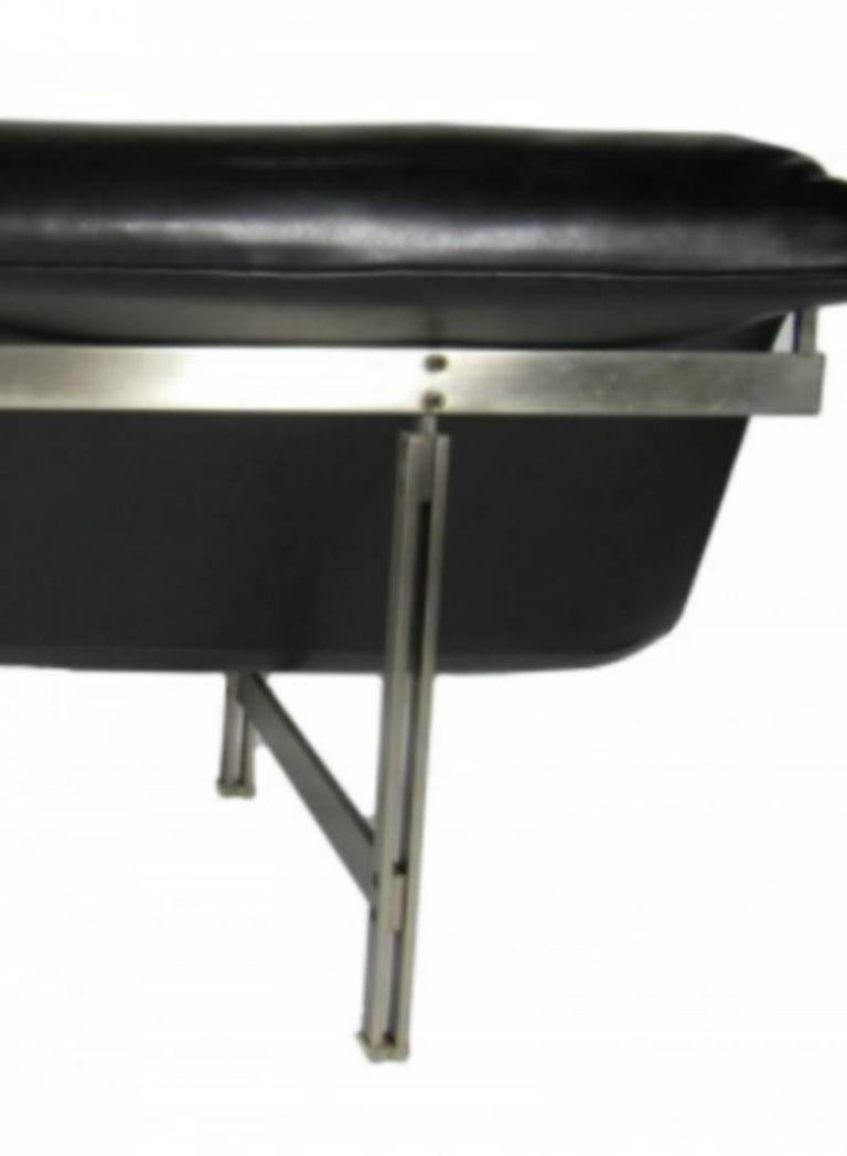 Late 20th Century Italian Modern Stainless Steel and Leather Two-Seat